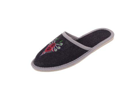 Pantofle filcowe kapcie płaskie niskie haft parzenica