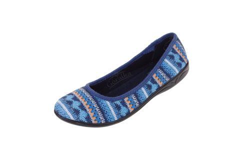 Baleriny BIO Adanex 23561 Polskie pantofle niebieskie