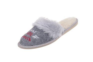 Pantofle filcowe ocieplane wełną dla babci SUPER BABCIA
