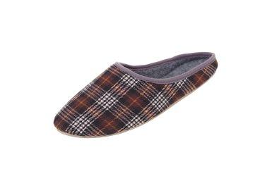 Pantofle filcowe z podeszwą gumową krata brąz