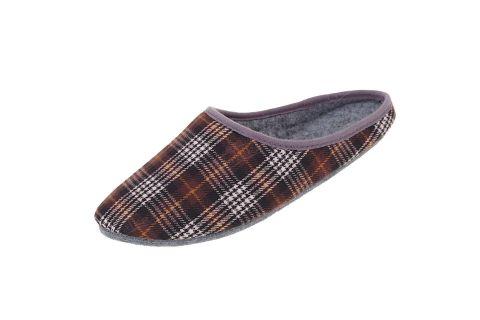 Pantofle filcowe z podeszwą filcową krata brąz