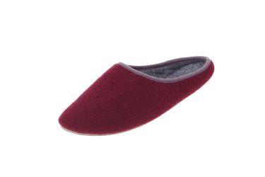 Pantofle filcowe z podeszwą gumową bordowe