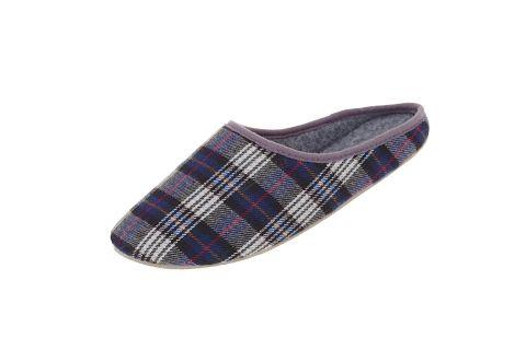 Pantofle filcowe z podeszwą gumową krata niebieska