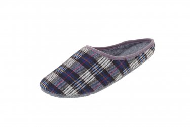 Pantofle filcowe z podeszwą filcową krata niebieska