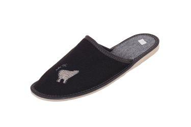 Pantofle filcowe męskie czarne niedźwiadek