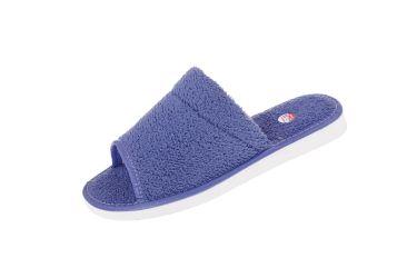 Pantofle tekstylne szerokie podeszwa piankowa frota niebieska