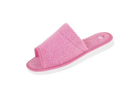 Pantofle tekstylne szerokie podeszwa piankowa frota różowa