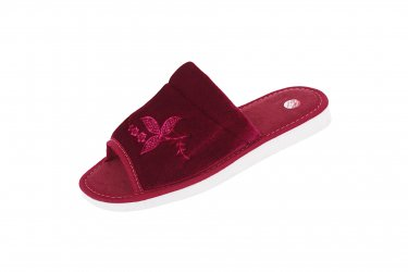 Pantofle tekstylne odkryte gruba podeszwa piankowa welur bordowy