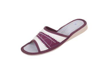 Pantofle skórzane kapcie profilowane fiolet sliwkowy