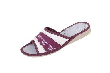 Pantofle skórzane kapcie profilowane fiolet sliwkowy z motylkiem