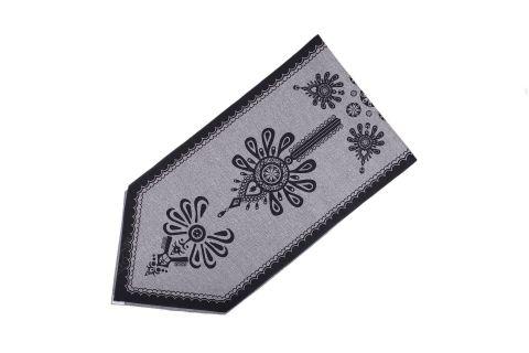 Bieżnik góralski krawat szary z nadrukiem parzenica 47x190