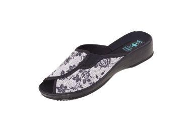 Pantofle na koturnie klapki odkryte profilowane BIO Adanex 23871 szare