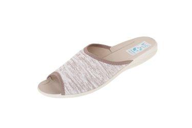 Pantofle klapki z odkrytymi palcami BIO Adanex 23898 beż