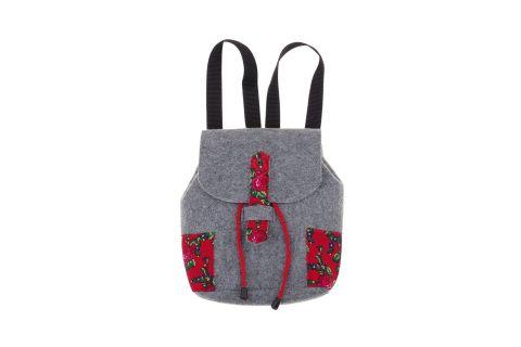 Plecak filcowy góralski folk szaro-czerwony