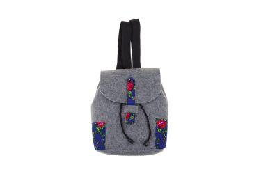 Plecak filcowy góralski folk szaro-niebieski