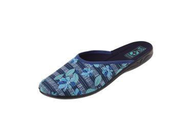 Pantofle BIO Adanex 23860 klapki kryte niebieskie w kwiaty