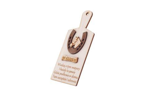 Podkowa na szczęście na desce pamiątka drewniana prezent