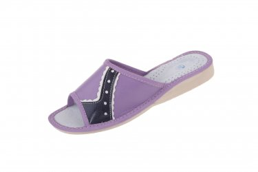 Pantofle skórzane góralskie profilowane lakierowane fioletowe