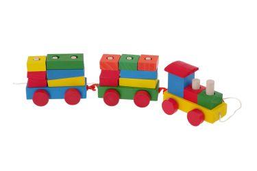 Pociąg drewniany z wagonami i klockami sorter kolejka na sznurku