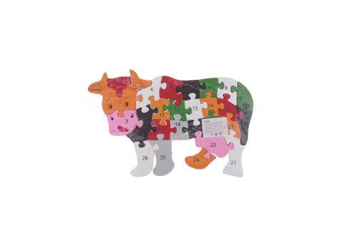 Puzzle drewniane 3D klocki dwustronne literki cyferki krowa