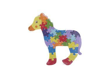 Puzzle drewniane 3D klocki dwustronne literki cyferki koń źrebak