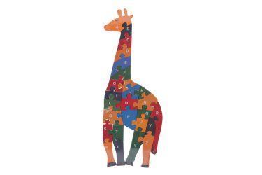 Puzzle drewniane 3D klocki dwustronne literki cyferki żyrafa