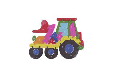 Puzzle drewniane 3D klocki dwustronne literki cyferki traktor
