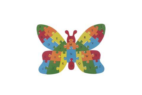 Puzzle drewniane 3D klocki dwustronne literki cyferki motyl