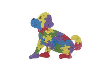 Puzzle drewniane 3D klocki dwustronne literki cyferki pies