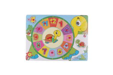Puzzle układanka zegar i cyferki 1-12 z uchwytami żółw