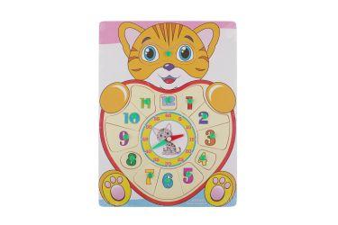 Puzzle układanka zegar i cyferki 1-12 z uchwytami kot tygrysek