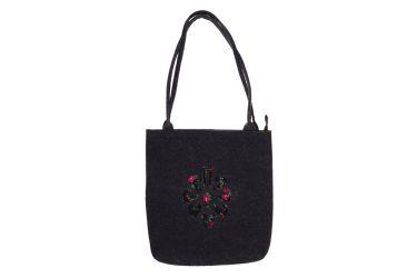 Torebka filcowa góralska folk torba na zakupy czarna z parzenicą czarną