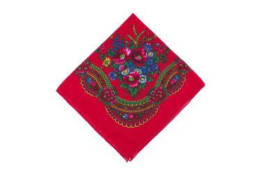 Chusta góralska bawełniana bez frędzli kwiaty z ornamentem czerwona