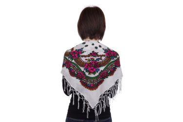Chusta góralska bawełniana z frędzlami 75 cm biała