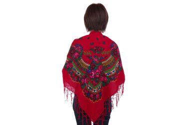 Chusta góralska bawełniana z frędzlami 125 cm czerwona