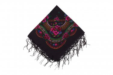 Chusta góralska bawełniana z frędzlami 75 cm czarna