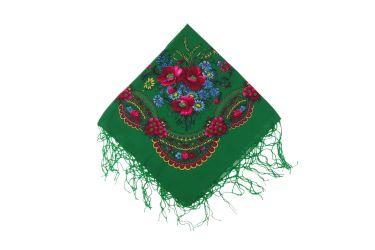 Chusta góralska bawełniana z frędzlami 70 cm z kłosami zielona