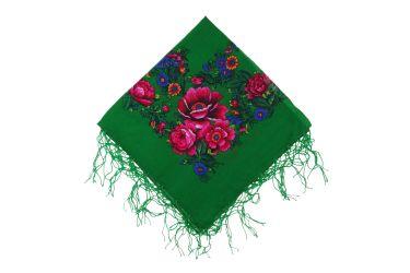 Chusta góralska bawełniana z frędzlami 75 cm zielona