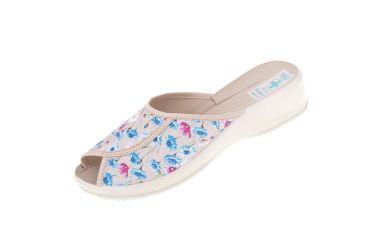 Pantofle kapcie na koturnie BIO Adanex 23994 beż w kwiaty