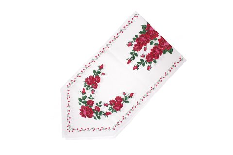 Bieżnik krawat biały z nadrukiem róże 47x190