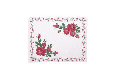 Podkładka bieżnik biały z nadrukiem róże 32x42