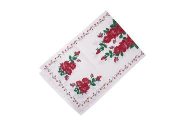 Bieżnik góralski biały serweta z nadrukiem róże 40x120