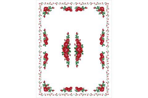 Obrus góralski z nadrukiem biały z różami 130x170