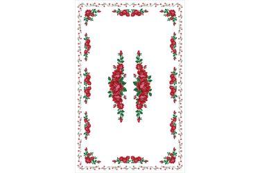 Obrus góralski z nadrukiem biały z różami 220x140