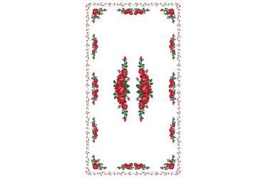 Obrus góralski z nadrukiem biały z różami 250x140