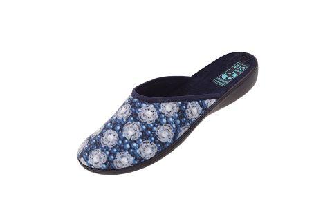 Pantofle Adanex BIO kapcie kryte 24288 szersze w kwiaty granatowe