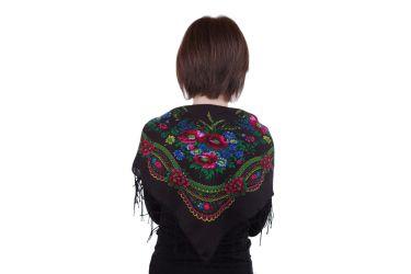 Chusta góralska bawełniana folk z frędzlami 75 cm czarna duże kwiaty