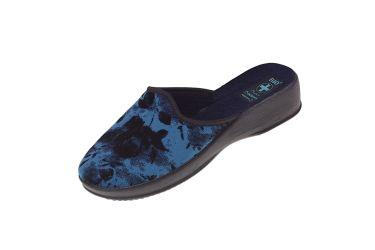 Pantofle na koturnie klapki kryte 24279 BIO Adanex granatowe