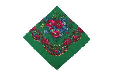 Chusta góralska bawełniana bez frędzli zielona w kwiaty z kłosami