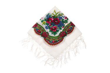 Chusta góralska bawełniana z frędzlami 75 cm z kłosami biała